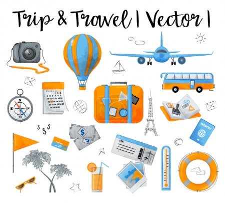 Illustration for Watercolor design vector illustration, concept of travelling around the world, journey and trip to other countries, for graphic and web design - Royalty Free Image
