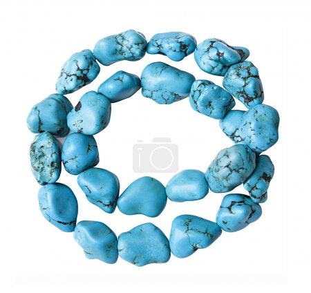 Turquoise bracelet on white background