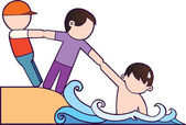 Illustration of 2 boy is saving their friends who's being submerged by the sea This illustration describe about friendship Friends will not let their friends in their problems and the true friend will not leave their friends alone