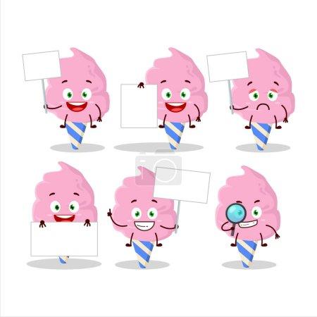 Illustration pour Barbe à papa fraise personnage de dessin animé apporter panneau d'information. Illustration vectorielle - image libre de droit