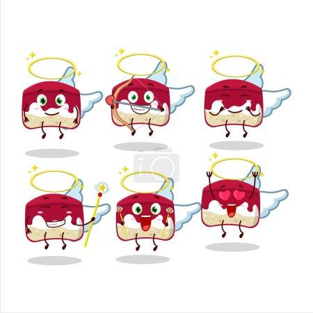 Illustration pour Cerise dessins animés gâteau comme un personnage ange mignon. Illustration vectorielle - image libre de droit