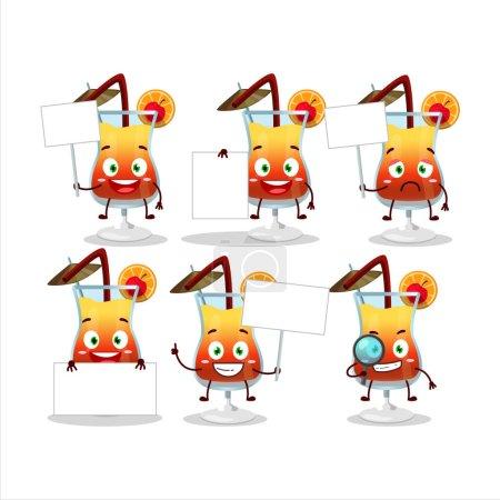 Illustration pour Tequila sunrise personnage de bande dessinée apporter panneau d'information. Illustration vectorielle - image libre de droit