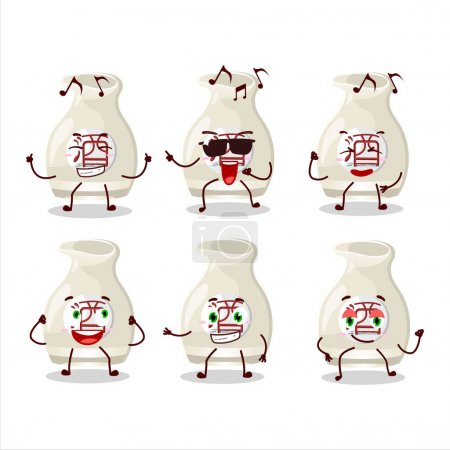 Illustration pour Une image de saké boire danseur personnage de dessin animé profiter de la musique. Illustration vectorielle - image libre de droit