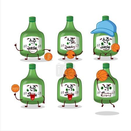 Illustration pour Talented soju cartoon character as a basketball athlete. Vector illustration - image libre de droit