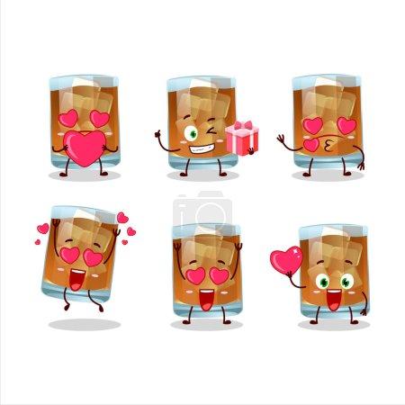 Illustration pour Whisky personnage de dessin animé avec amour émoticône mignon. Illustration vectorielle - image libre de droit