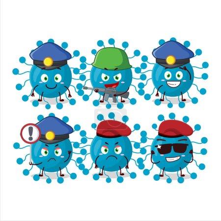 Illustration for A dedicated Police officer of bovine virus mascot design style. Vector illustration - Royalty Free Image
