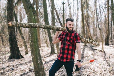 Bearded man in woods