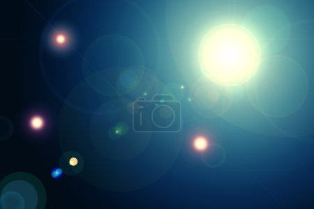 Photo for Digital lens flare in black background horizontal frame warm and abstract background - Royalty Free Image