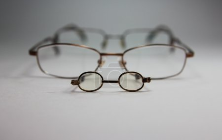 glasses in a metal frame