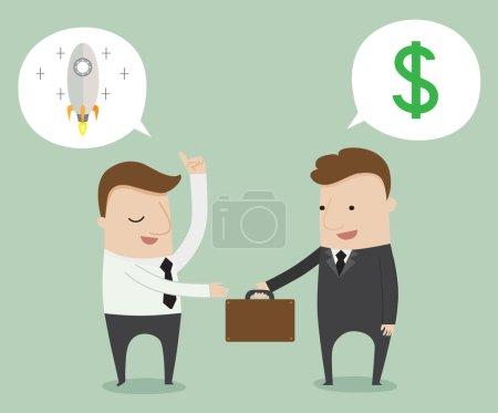 Illustration pour Offre d'emploi entre employeur et salarié, illustration vectorielle bande dessinée - image libre de droit
