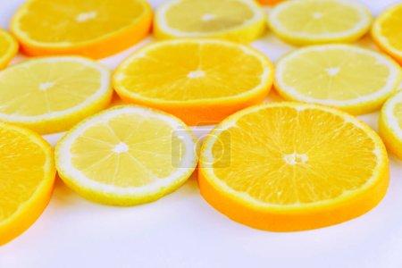 Photo for Citrus slice, oranges and lemons on white background - Royalty Free Image