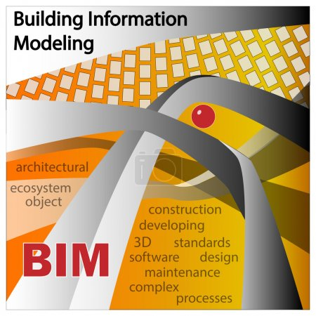 BIM IS BUILDING INFORMATION MODELLING. Objects and symbols on a orange background.