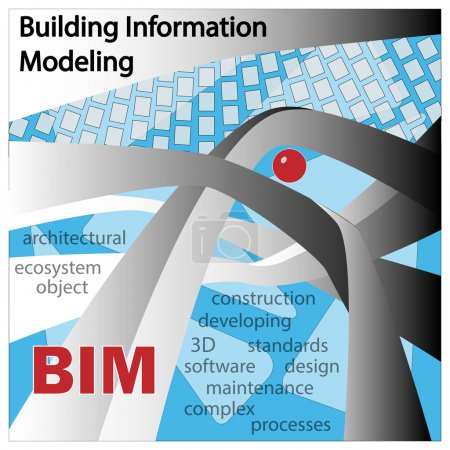 BIM IS BUILDING INFORMATION MODELLING. Objects and symbols on a blue background. Design 2.