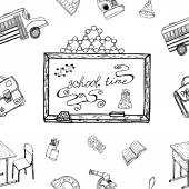 School Time Hand drawn background Ideal Quality Sketch Drawing seamless pattern for your Schooling design Draft elements signs symbols about Learning Art Doodle objects Vector Illustration