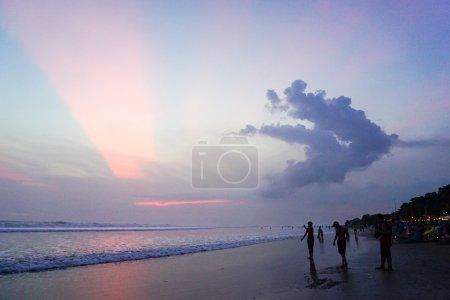 Red glorious sky in melasti beach bali, indonesia. Melasti hidden beach in bali. Near tanah lot beach