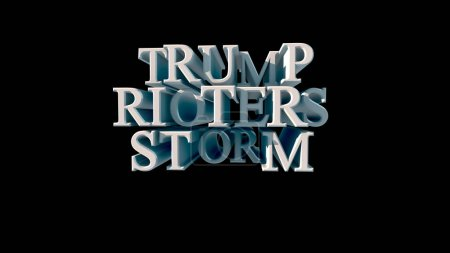 Photo for White lettering on black background Trump rioters storm 3d rendering. High quality 3d illustration - Royalty Free Image