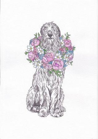 dog with a bouquet of flowers
