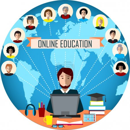 Tutor and his online education group on the globe background. Concept of distance education and e-learning. Tutor instructs students from different countries.