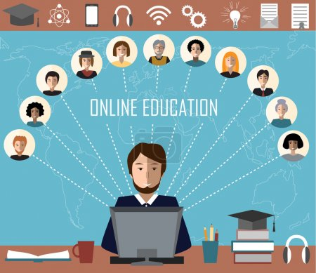 Tutor and his online education group on the world map background. Concept of distance education and e-learning.