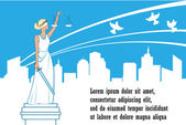 Goddess of justice Themis on the city background Peace safety and immunity concept Femida with balance and sword