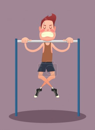Young man doing exercises on horizontal bar
