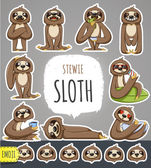 Cartoon Sloth Character Emoticon Stickers