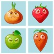 Cute characters with big eyes. Onions, carrots, st...
