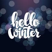 Dobrý den, zimní text. Štětec písma v pozadí s sněhové vločky a bokeh světla. Vektorový design karty