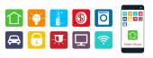 Smart House  a set of web icons  The house  climate  securit