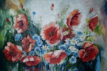 oil painting bouquet of poppies
