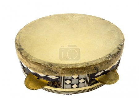 Traditional musical instument egyptian tambourine made of camel