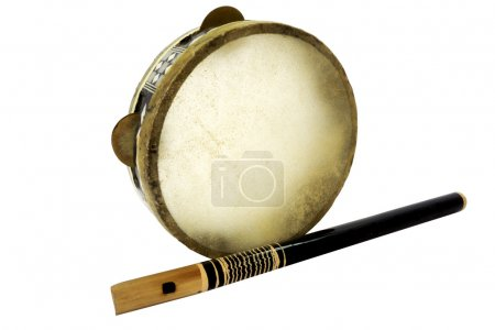 Traditional musical instument Djembe drum and flute