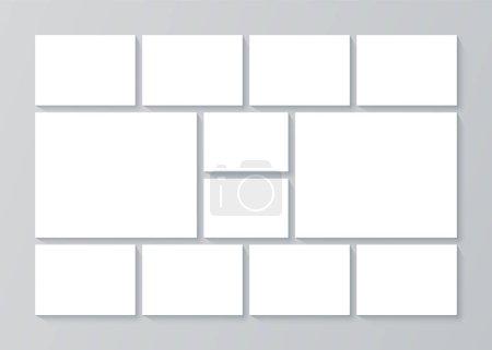 Illustration pour Moodboard. Modèle de collage photo. Vecteur. Arrière-plan du panneau d'ambiance. Bannière avec grille d'images. Cadres en mosaïque. Mise en page d'album de photographie. Conception horizontale de la maquette. Une illustration simple. - image libre de droit