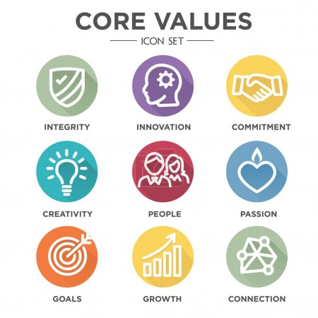 Illustration for Company Core Values Outline Icons for Websites or Infographics - Royalty Free Image