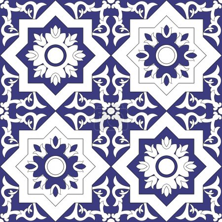 Illustration for Ornamental pattern seamless vector blue and white color. Azulejo, portuguese tiles, celtic, spanish, moroccan, talavera, turkish or delft dutch tiles design with flowers motifs. - Royalty Free Image