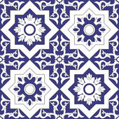 Ornamental pattern seamless vector blue and white color Azulejo portuguese tiles celtic spanish moroccan talavera turkish or delft dutch tiles design with flowers motifs