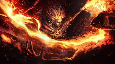 Photo pour Le chaman guerrier du feu coupe la tête de ses ennemis démons avec un large balayage de ses épées de feu jumelées, laissant une belle éclaboussure de feu. Illustration 2d. - image libre de droit