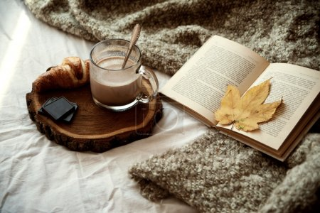 Mug of cocoa stands on a wooden tray, next is a cr...