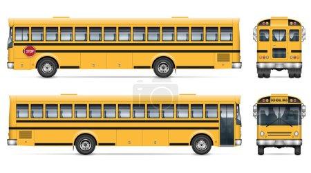 Illustration pour Modèle vectoriel de bus scolaire. Modèle isolé d'autobus scolaire sur blanc pour la marque de véhicule, l'identité d'entreprise. Vue de côté, devant, derrière. Tous les éléments des groupes sur des calques séparés pour faciliter l'édition - image libre de droit