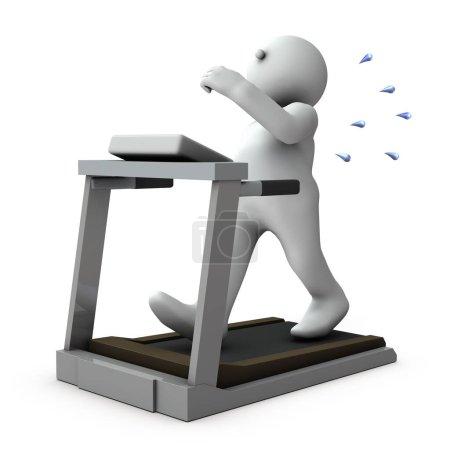 Ein fettleibiger Mann, der schmerzhaft auf einem Laufband läuft. Weißer Hintergrund. 3D-Rendering.