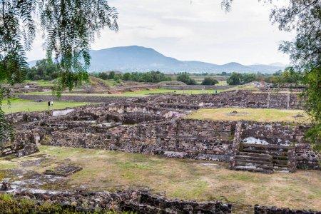 Ruinas de muros y cimientos de las pirámides mesoamericanas arquitectónicamente significativas y pastizales verdes ubicados en Teotihuacán, una antigua ciudad mesoamericana ubicada en un subvalle del Valle de México