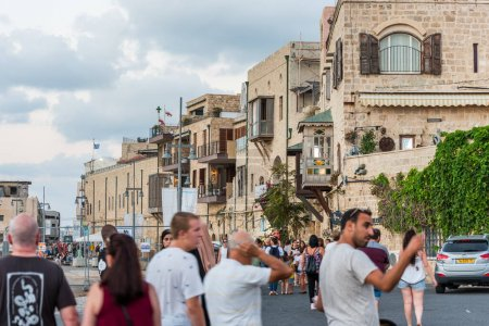 Lots of tourists and locals in the old Jaffa city near the old Jaffa port. Tel Aviv, Israel