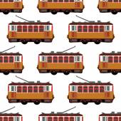 Lovely retro vector detailed tram car side view isolated seamless Ideal for urban lifestyle touristic and sightseeing graphic and web design