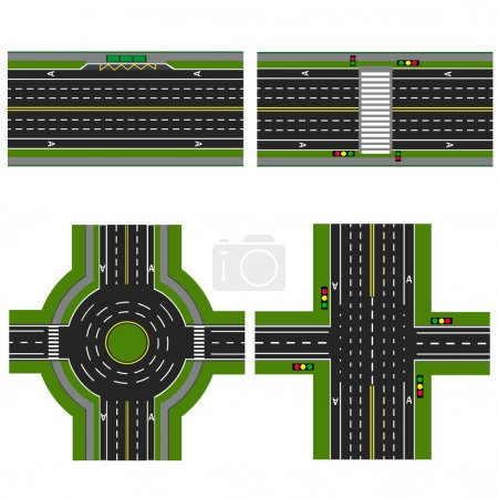 Set of different sections of the highway with a circular dvizheniemi, isolated. Image sidewalks, transition lanes for public transport. View from above. illustration