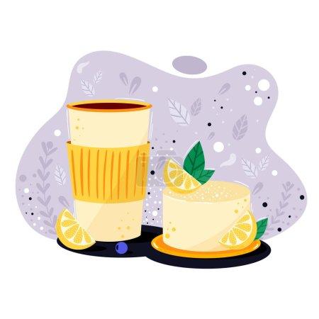 Illustration pour Délicieux gâteau au citron doux avec des baies et de la crème. Gâteau au fromage avec tasse à café à emporter. Concept de boulangerie et menu caf daigne, bannière, carte, promotion. Couleurs vives, illustration réaliste - image libre de droit