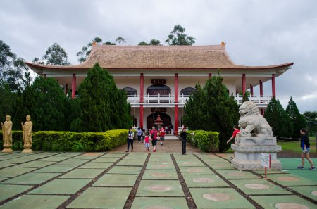 people in buddhist temple,  Brazil
