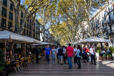 Beautiful view of La Rambla street in Barcelona, S...