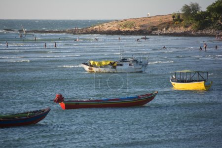 boats at Jericoacoara beach in Brazil