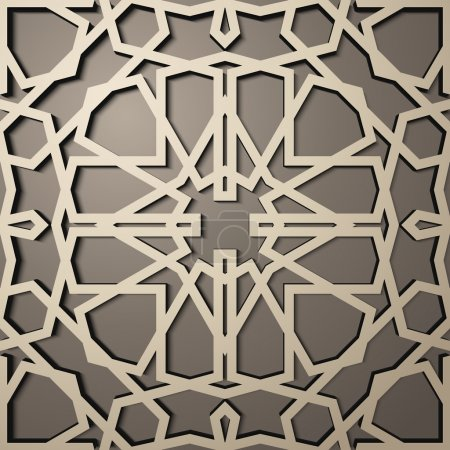 Illustration for Background with 3d seamless pattern in Islamic style - Royalty Free Image