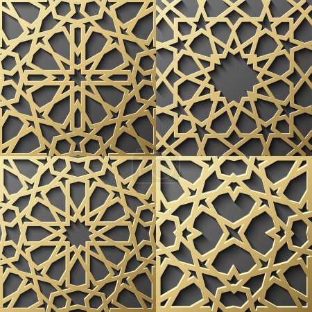 Illustration for Islamic pattern.Seamless arabic geometric pattern, east ornament, indian ornament, persian motif, 3D. Endless texture can be used for wallpaper, pattern fills, web page background . - Royalty Free Image